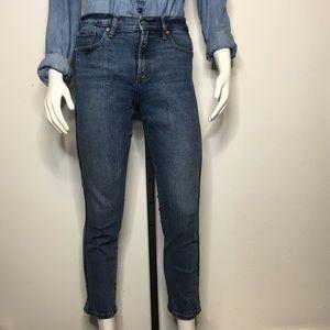 Gap High Rise Slim Straight Denim Jeans 28 Cropped